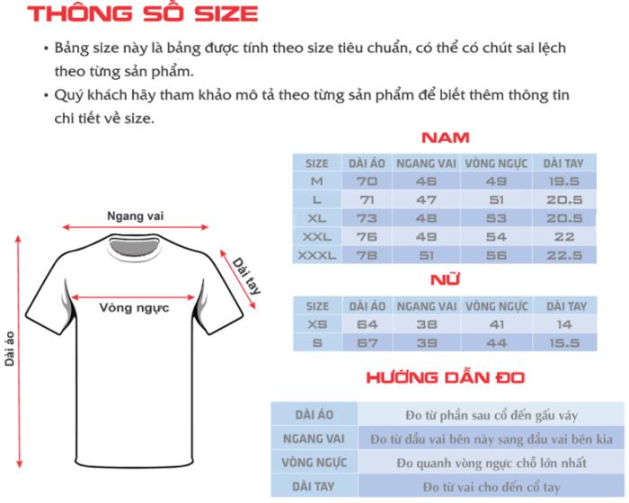 Bảng chọn Size áo thun phù hợp