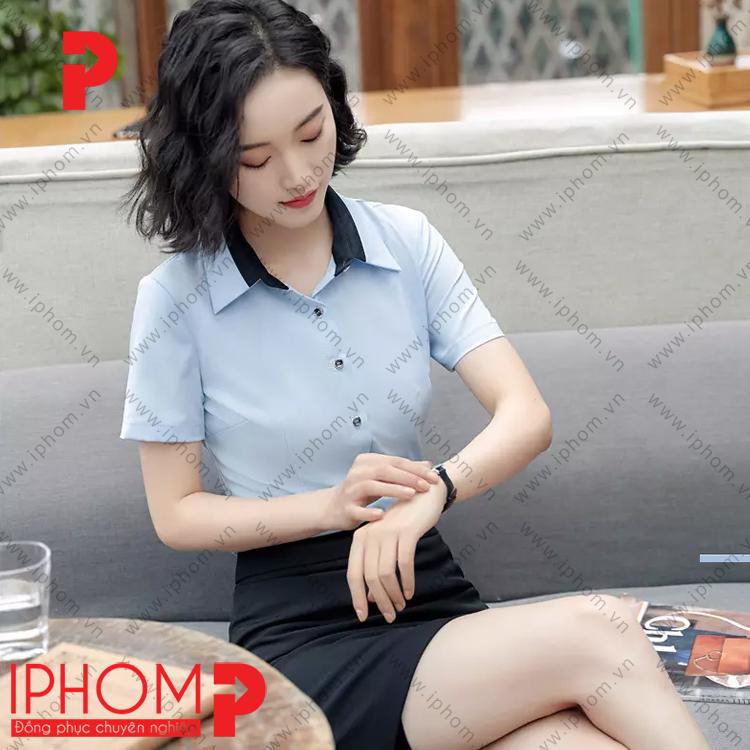 mau-ao-so-mi-nu-dong-phuc-cong-so-dep-mau-xanh-da-troi