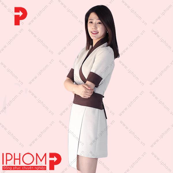 dong-phuc-nhan-vien-spa-vay-kimono-cach-tan