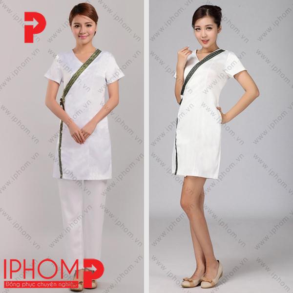 dong-phuc-nhan-vien-spa-vay-lien-kimono-mau-trang