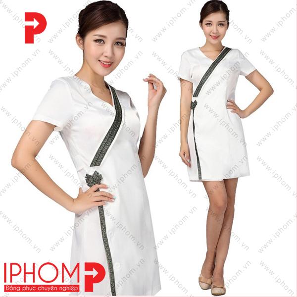 mau-dong-phuc-spa-vay-lien-kimono-mau-trang-dep